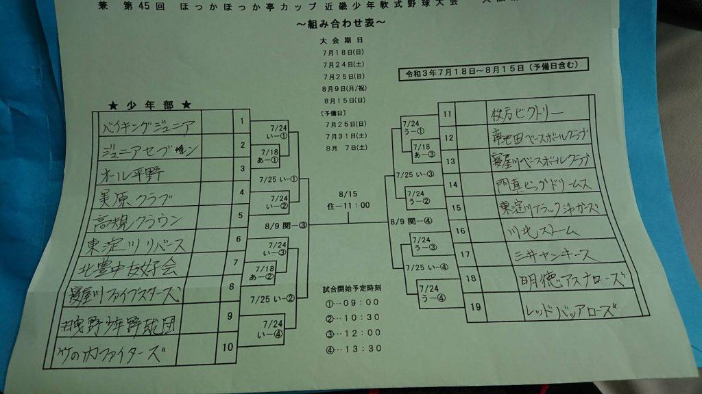 ほっかほっか亭カップ第45回近畿少年軟式野球大会 トーナメント表